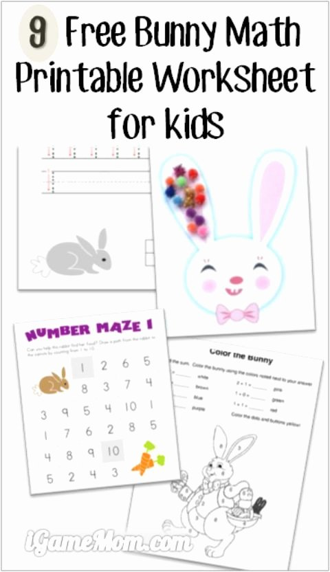 Rabbit Printable Worksheets for Preschoolers Inspirational 9 Free Bunny Math Printable Worksheets for Kids