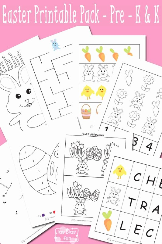 Rabbit Printable Worksheets for Preschoolers Kids Easter Printable Preschool and Kindergarten Pack