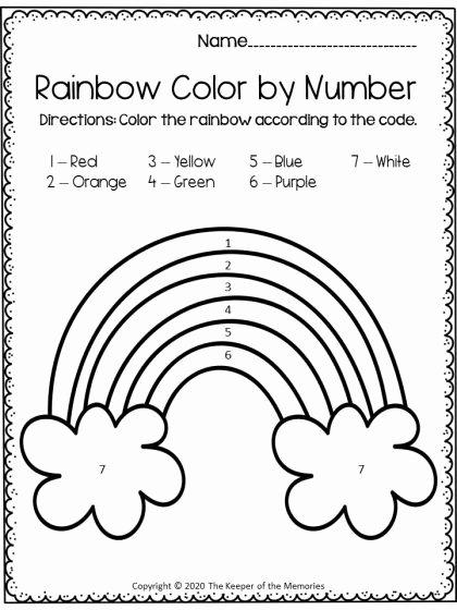 Rainbow Worksheets for Preschoolers Ideas Free Printable Color by Number Rainbow Preschool Worksheet