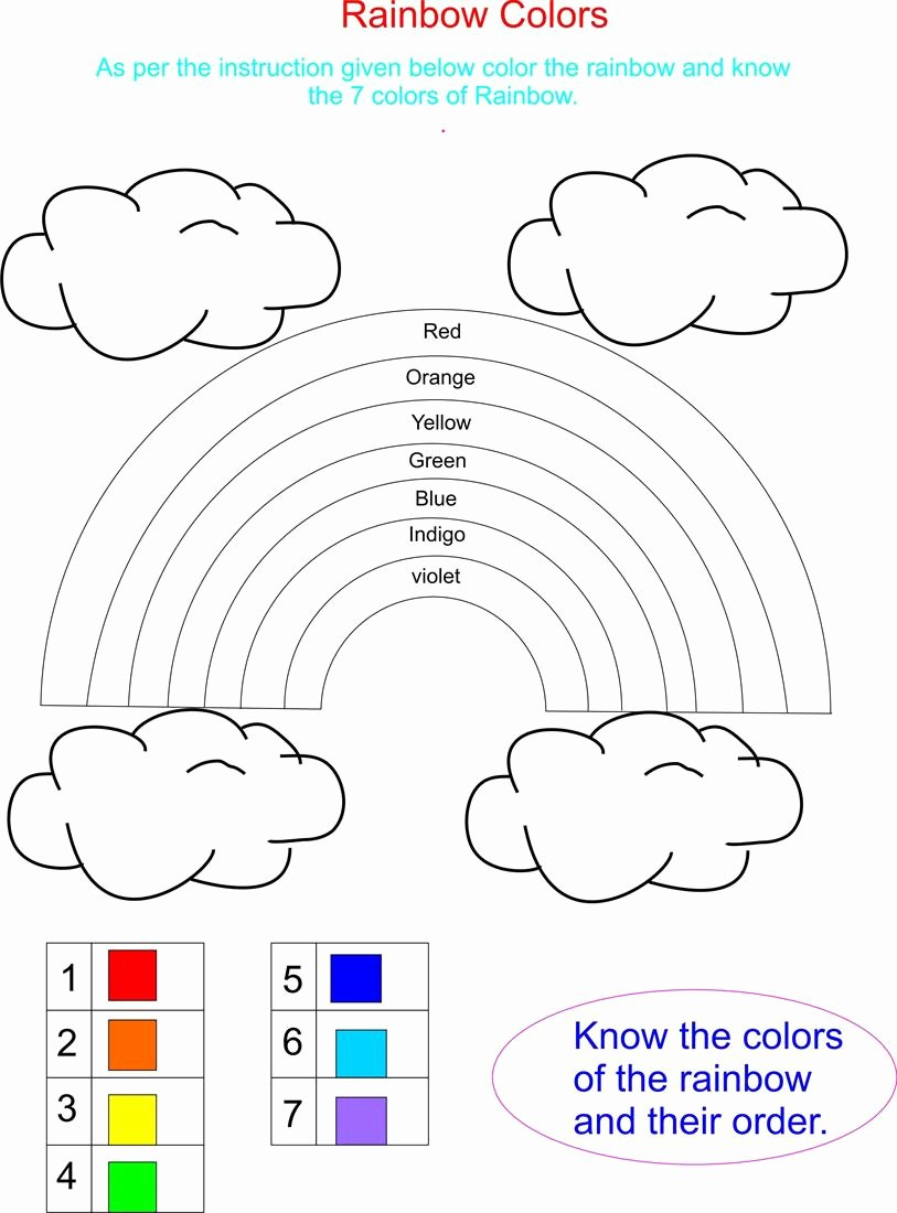 Rainbow Worksheets for Preschoolers Kids Color Rainbow