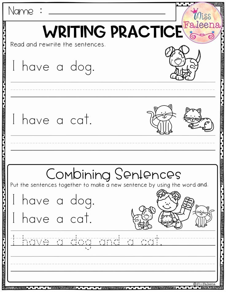 Reading and Writing Worksheets for Preschoolers Lovely Free Writing Practice Bining Sentences This Product