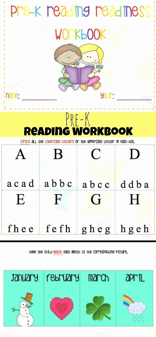 Reading Readiness Worksheets for Preschoolers New Pre K Reading Readiness Workbook Printable Preschool