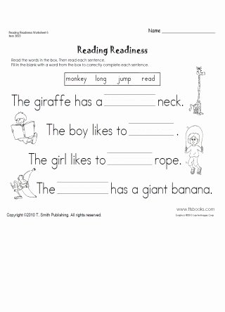Reading Readiness Worksheets for Preschoolers Printable Reading Readiness Worksheet 6