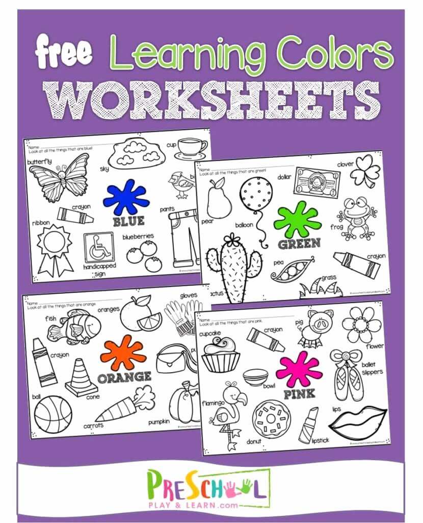 Recognition Colors Worksheets for Preschoolers Free Free Color Worksheets for Kids