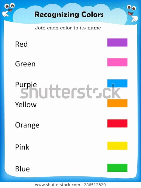 Recognizing Colors Worksheets for Preschoolers Ideas Kids Worksheet Recognize Colors Find Match Stock Vector