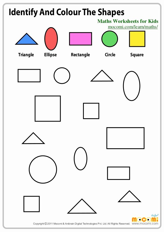 Recognizing Colors Worksheets for Preschoolers Inspirational Identify and Colour the Shapes Maths Worksheets for Kids