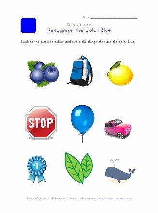 Recognizing Colors Worksheets for Preschoolers New Recognize the Color Blue Colors Worksheet for Kids