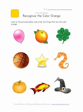 Recognizing Colors Worksheets for Preschoolers Printable Recognize the Color orange Colors Worksheet for Kids