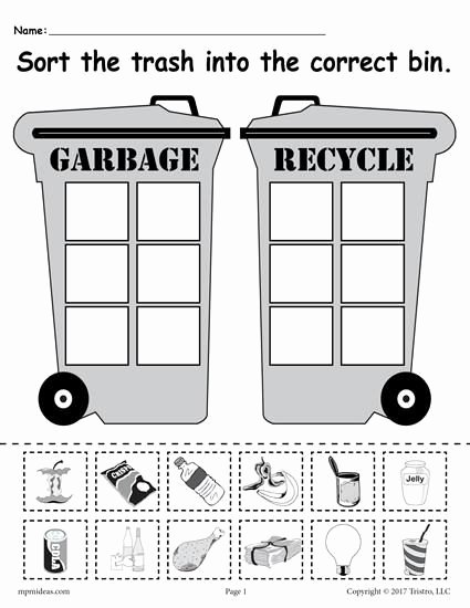 Recycling Worksheets for Preschoolers Free sorting Trash Earth Day Recycling Worksheets 4 Printable
