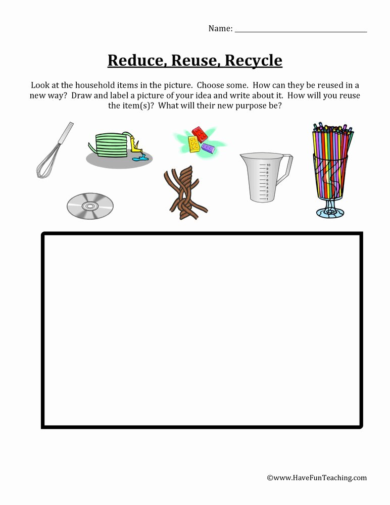 Recycling Worksheets for Preschoolers Ideas Reduce Reuse Recycle Items Worksheet