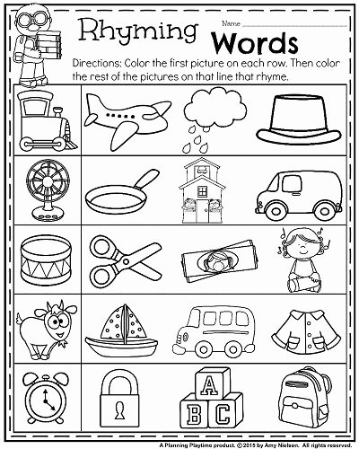 Rhyming Picture Worksheets for Preschoolers Free Back to School Kindergarten Worksheets Planning Playtime