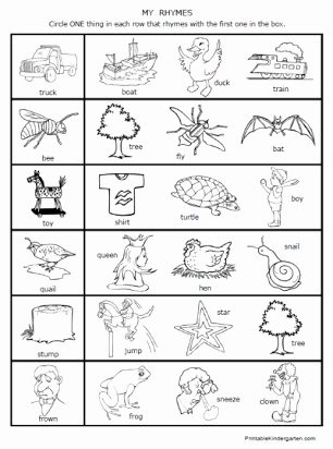 Rhyming Picture Worksheets for Preschoolers Ideas Free First Grade Rhyming Worksheet
