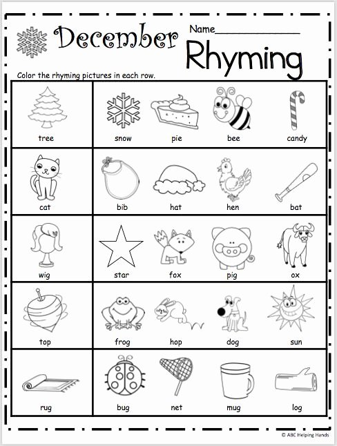 Rhyming Picture Worksheets for Preschoolers Kids Free Kindergarten Rhyming Worksheets for December