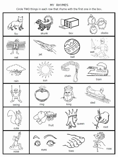 Rhyming Picture Worksheets for Preschoolers Lovely Free Rhymes Worksheets