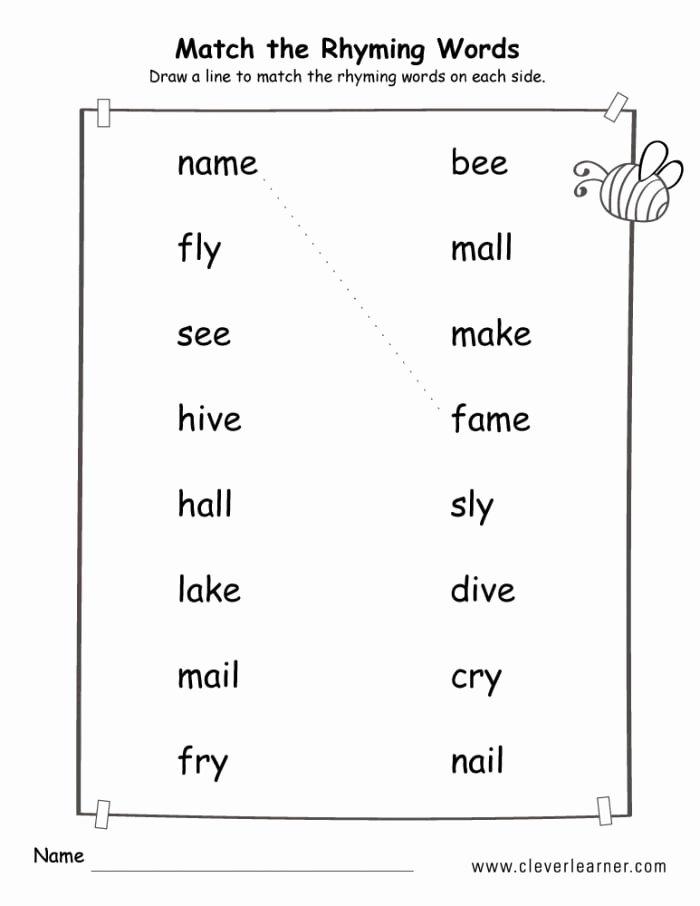 Rhyming Words Worksheets for Preschoolers Fresh Matching Rhyming Words Worksheets