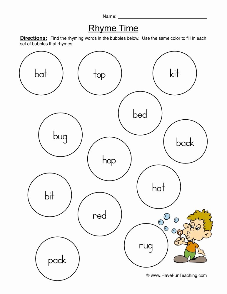 Rhyming Words Worksheets for Preschoolers Lovely Rhyming Words Pairs Worksheet