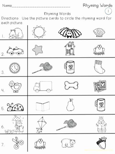 Rhyming Words Worksheets for Preschoolers top A Teeny Tiny Teacher Rhyming Words