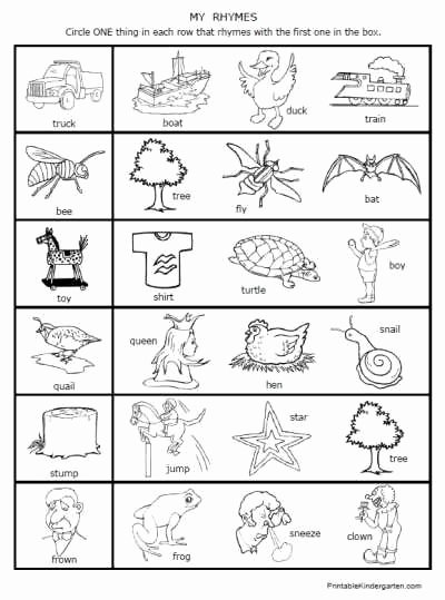 Rhyming Worksheets for Preschoolers Fresh 42 Printable Rhyming Worksheets