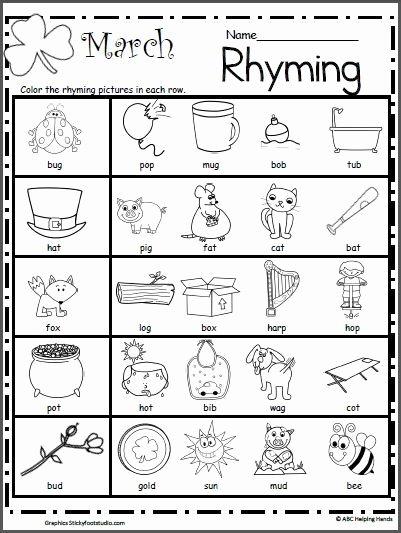 Rhyming Worksheets for Preschoolers Lovely March Rhyming Worksheet