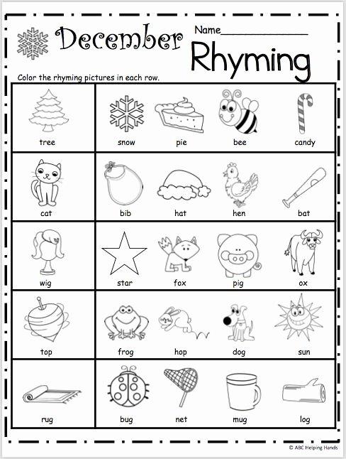 Rhyming Worksheets for Preschoolers Printable Free Kindergarten Rhyming Worksheets for December