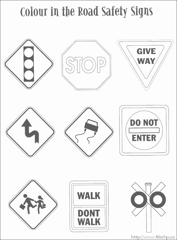Road Safety Worksheets for Preschoolers Lovely Traffic Safety Signs Coloring Pages
