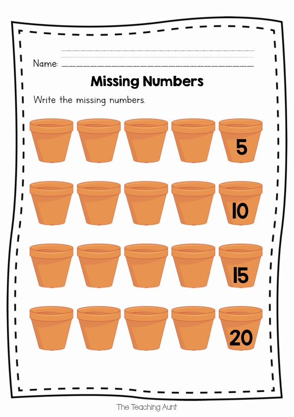 Rote Counting Worksheets for Preschoolers Printable Free Missing Numbers Worksheets the Teaching Aunt
