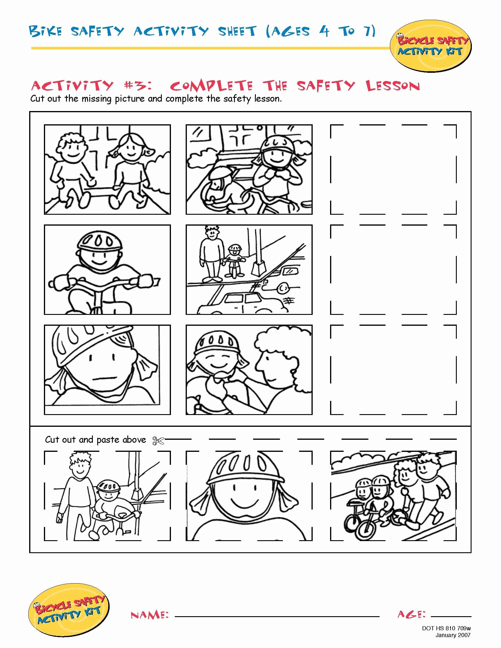 Safety Worksheets for Preschoolers Best Of Bike Safety Activity Sheet Ages 4 to 11 Plete the