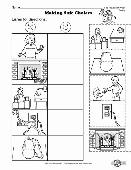 Safety Worksheets for Preschoolers New Science Worksheet Fire Safety the Mailbox