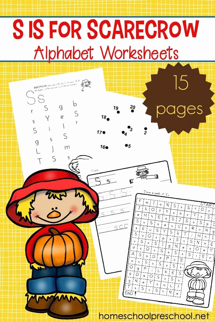 Scarecrow Worksheets for Preschoolers Fresh Printable Scarecrow themed Alphabet Worksheets for Fall