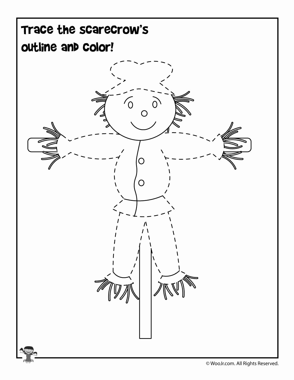 Scarecrow Worksheets for Preschoolers Kids Trace the Scarecrow Worksheet