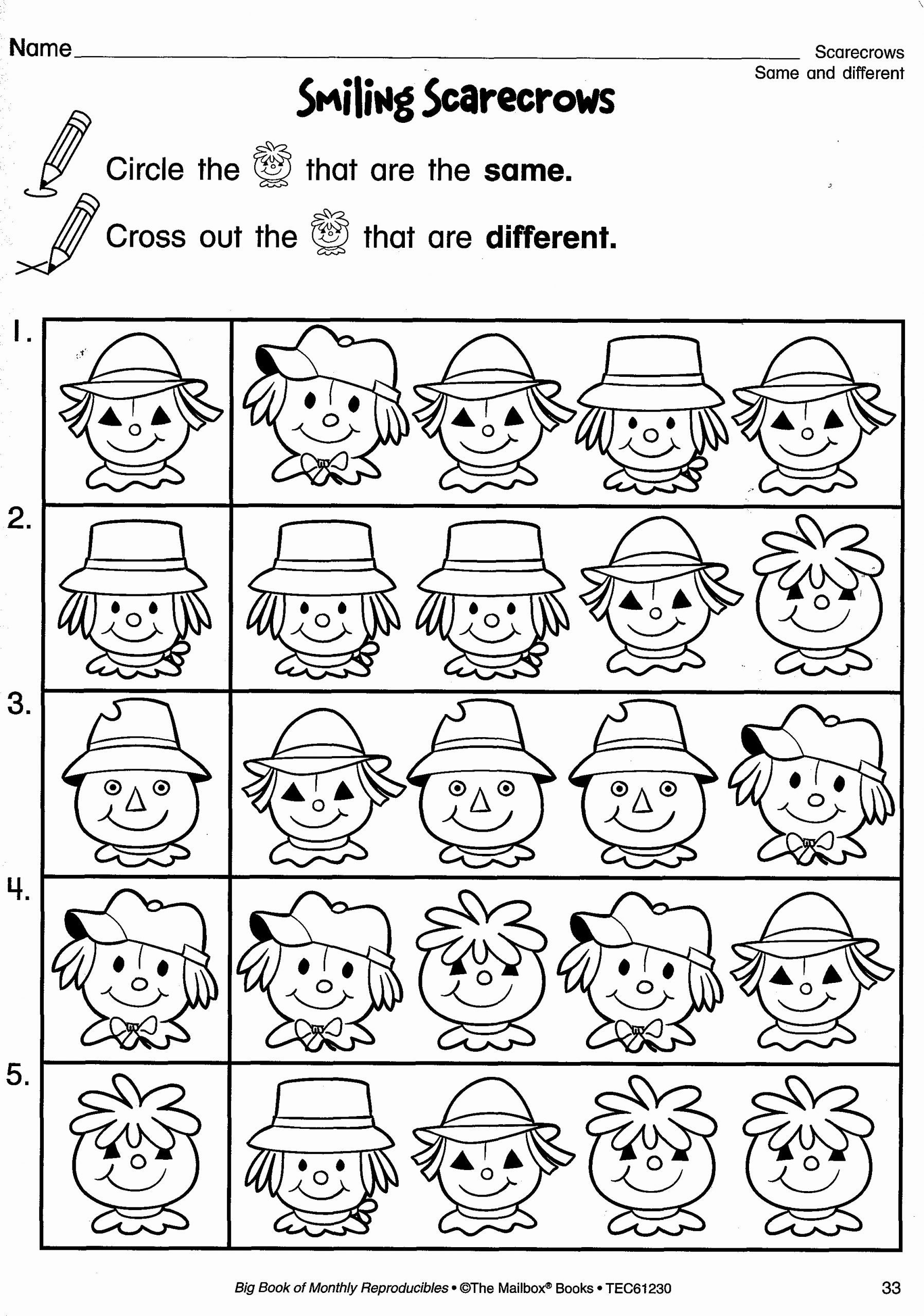 Scarecrow Worksheets for Preschoolers top Fall Reproducible Page Smiling Scarecrows for Practicing