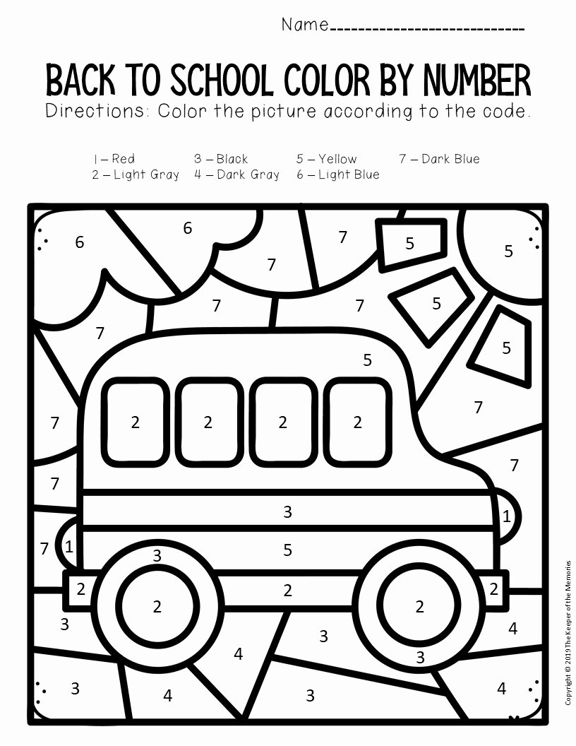 School Bus Worksheets for Preschoolers Best Of Color by Number Back to School Kindergarten Worksheets