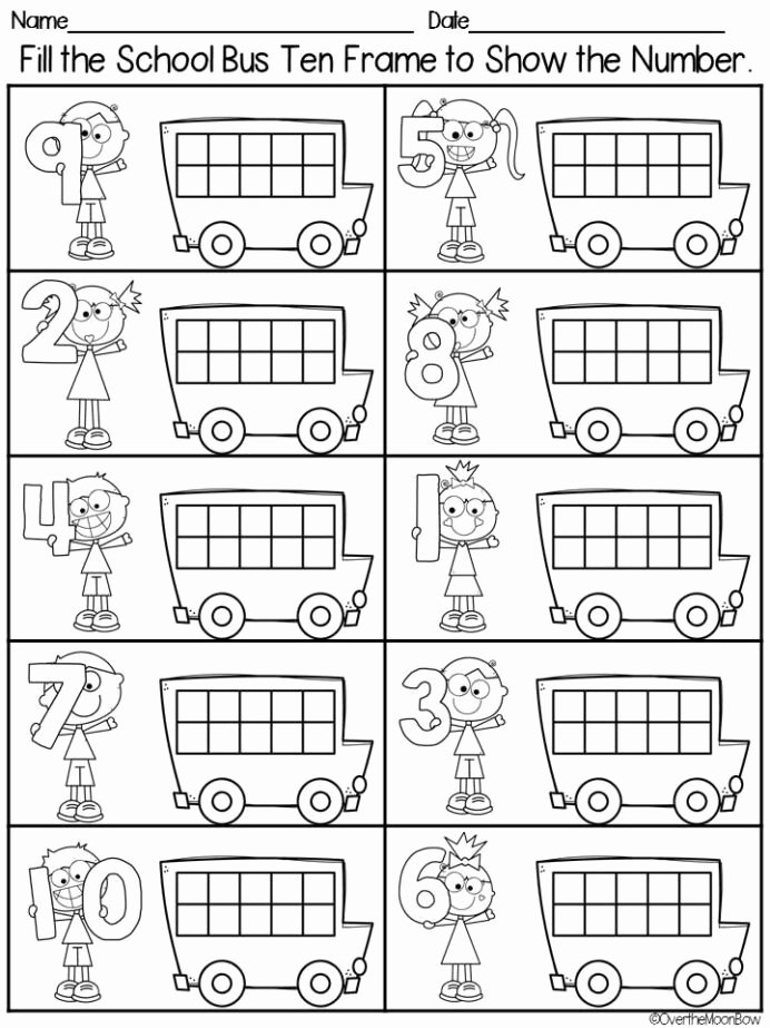 School Bus Worksheets for Preschoolers Inspirational Bus Stop Ten Frames Puzzles Playdoh Math Centers