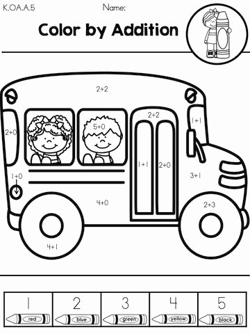 School Bus Worksheets for Preschoolers Lovely Color the School Bus by Addition Part Of the Back to