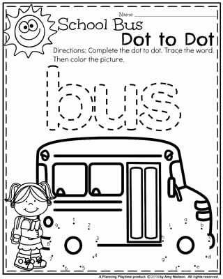 School Bus Worksheets for Preschoolers Printable Back to School Preschool Worksheets Planning Playtime