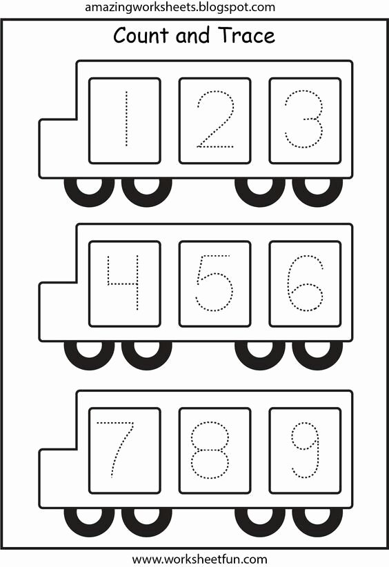 School Bus Worksheets for Preschoolers Printable School Bus Number Trace Page