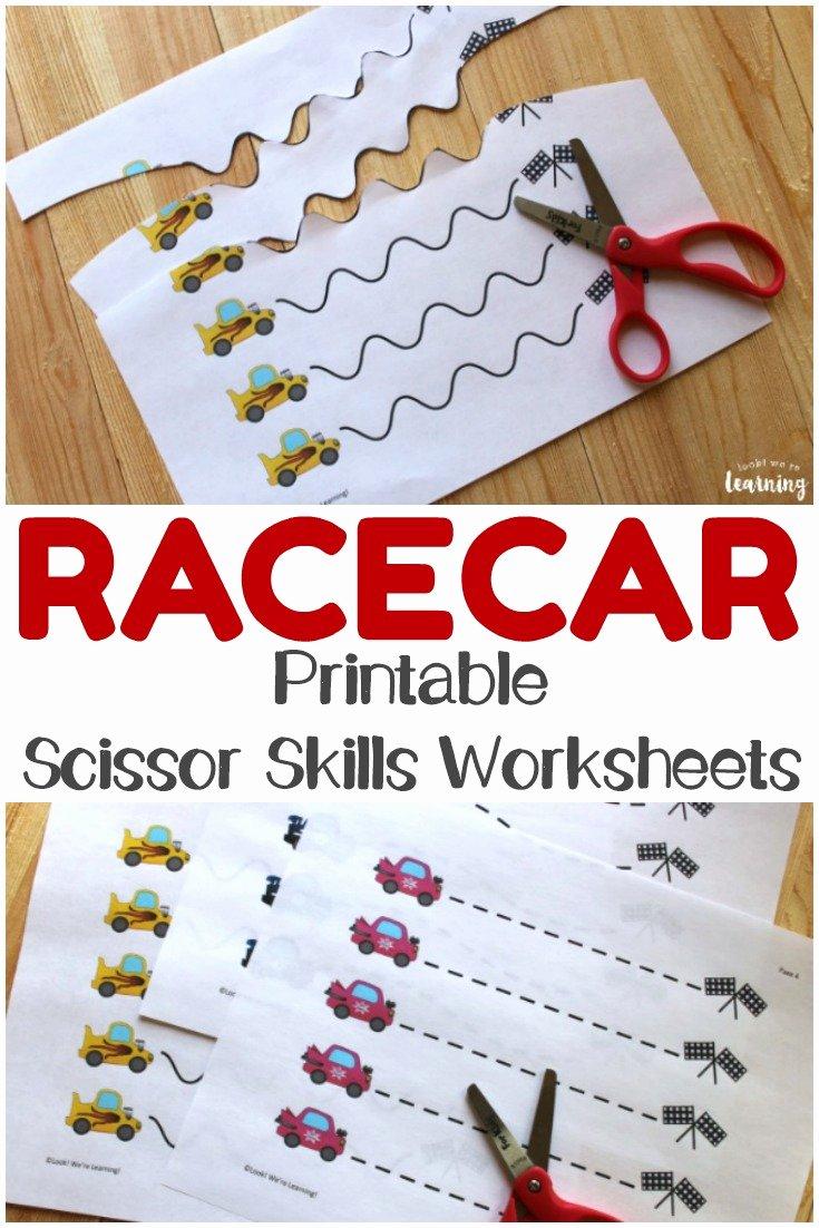 Scissor Cutting Skills Worksheets for Preschoolers Best Of Racecar Scissor Skills Printables Look We Re Learning