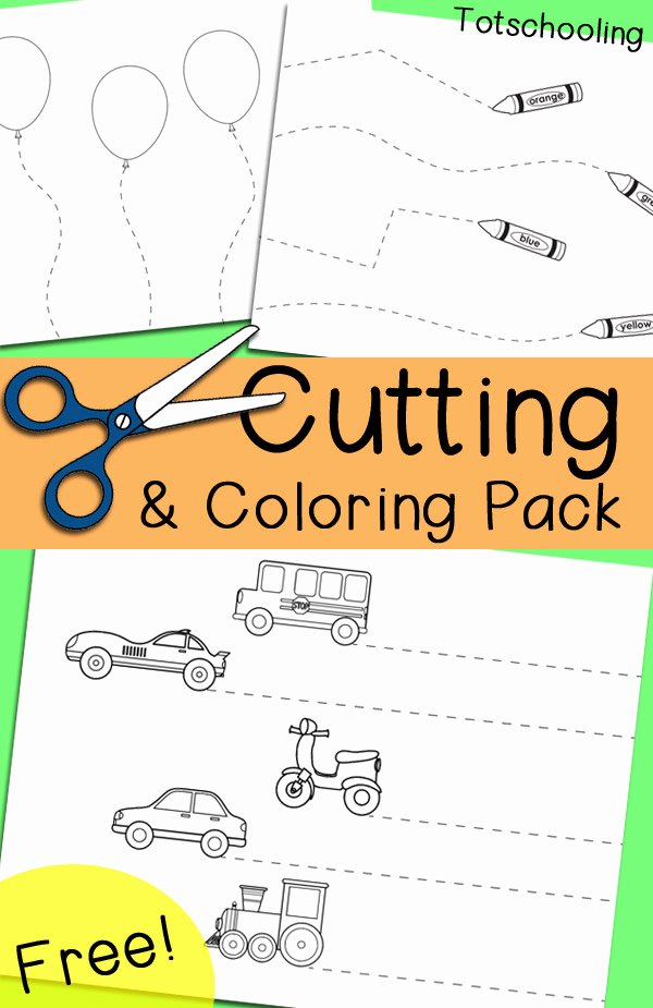 Scissor Cutting Worksheets for Preschoolers Kids Free Cutting & Coloring Pack
