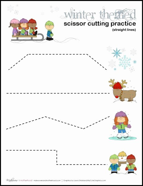 Scissor Practice Worksheets for Preschoolers Inspirational Worksheet Winter Scissor Cutting Practice Sheets
