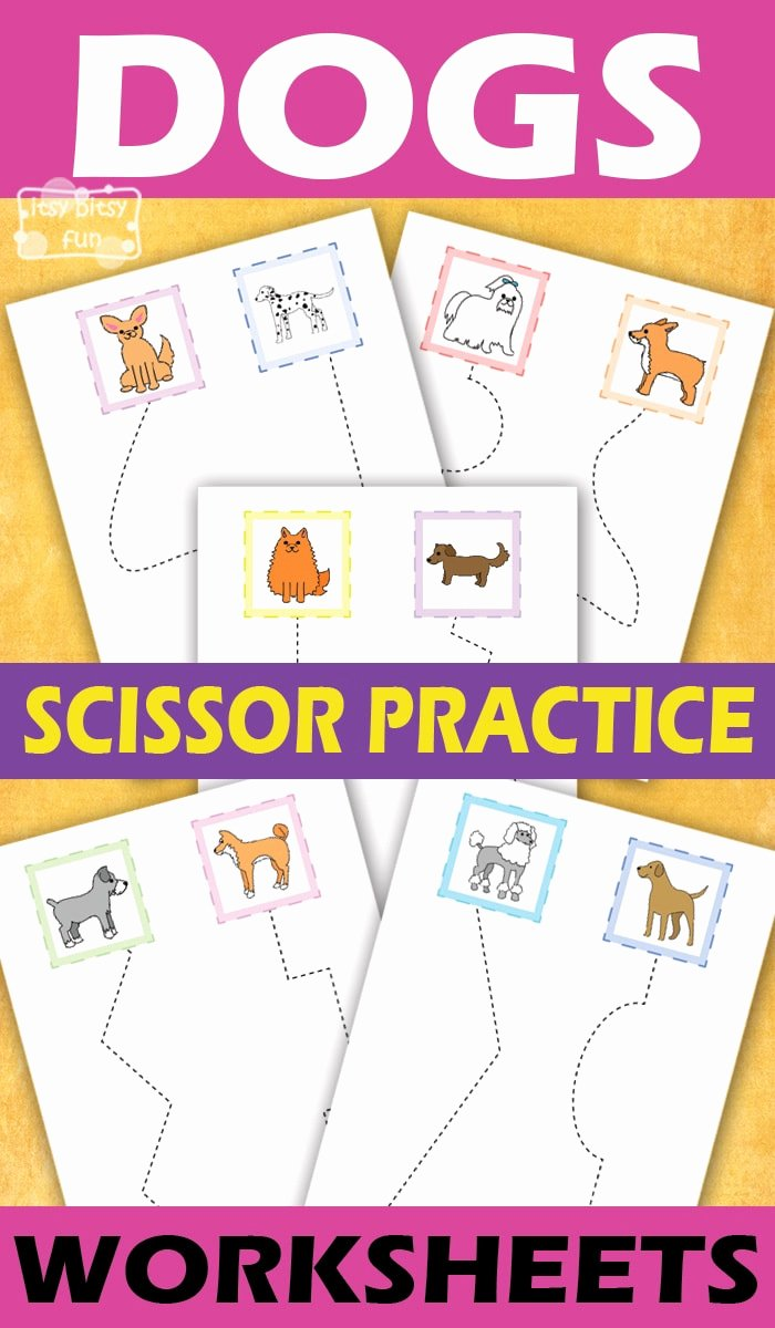 Scissor Worksheets for Preschoolers Fresh Dogs Scissor Practice Worksheets for Kids Itsybitsyfun