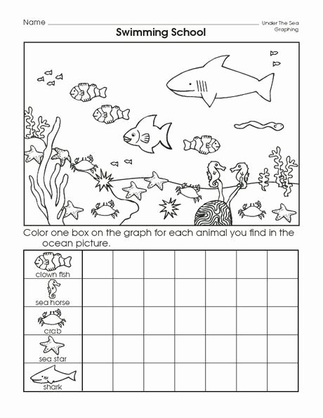 Sea Animals Worksheets for Preschoolers Kids Sea Animal Graph Worksheet