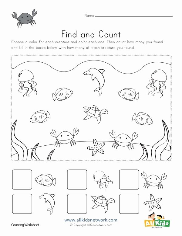 Sea Creatures Worksheets for Preschoolers Free Ocean Find and Count Worksheets All Kids Network
