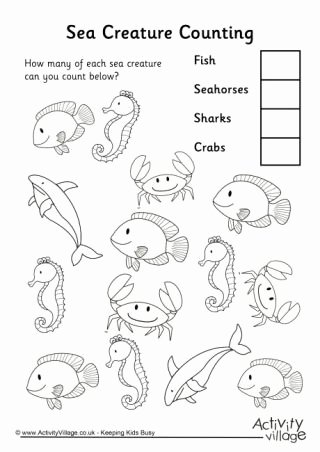 Sea Creatures Worksheets for Preschoolers Inspirational Animal Counting Worksheets