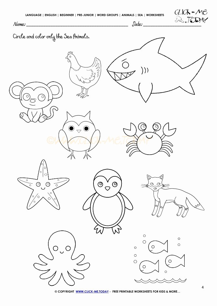 Sea Creatures Worksheets for Preschoolers Inspirational Sea Animals Worksheet Activity Sheet Circle 4