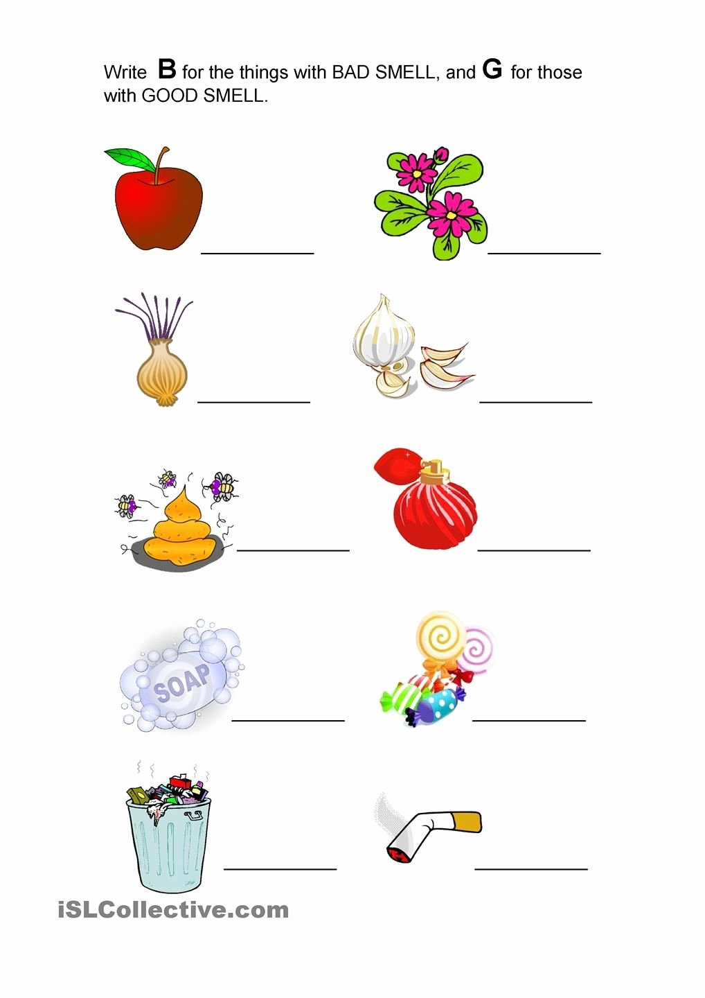 Sense Of Smell Worksheets for Preschoolers Free Good Smell and Bad Smell