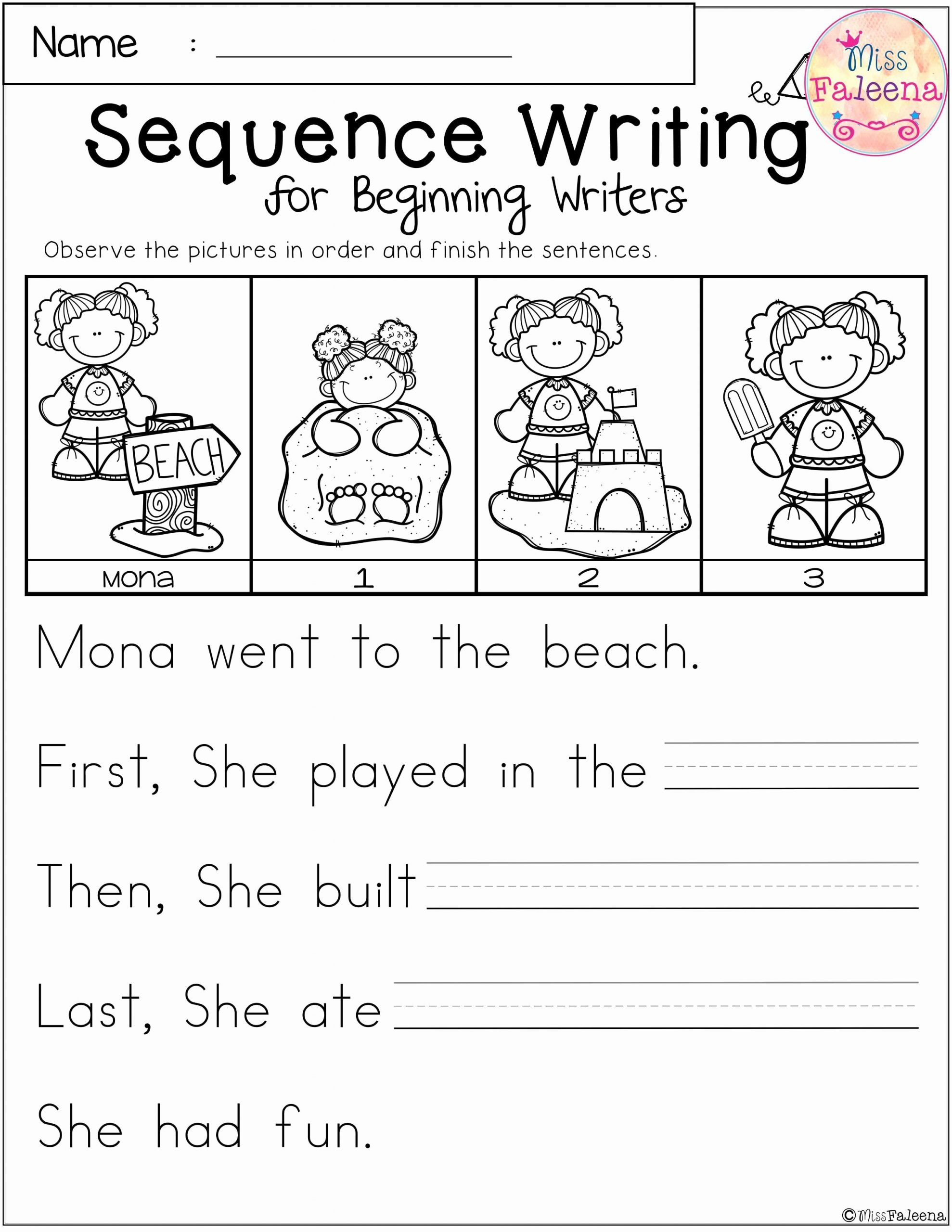Sequencing Worksheets for Preschoolers Free Free Sequence Writing for Beginning Writers