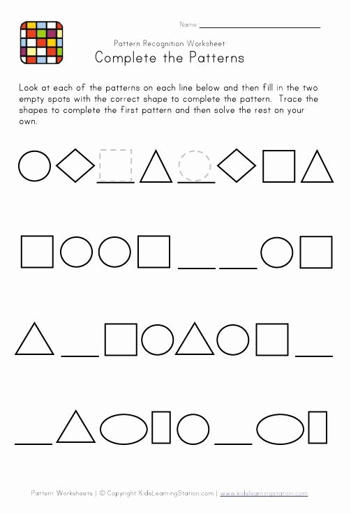 Shape Patterns Worksheets for Preschoolers Ideas Difficult Pattern Recognition Black and White Worksheet 2
