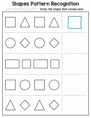 Shape Patterns Worksheets for Preschoolers Kids Shapes Pattern Recognition for Kindergarten Itsybitsyfun