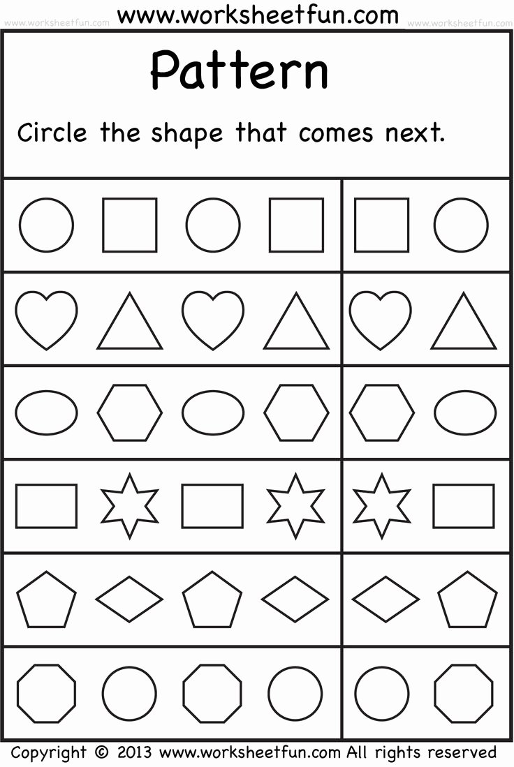 Shape Patterns Worksheets for Preschoolers top Shape Pattern Worksheet for Kids