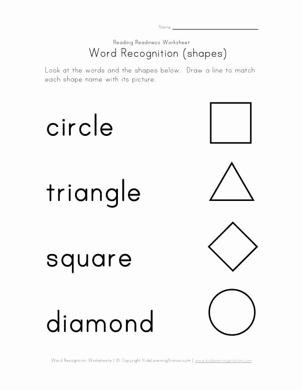 Shape Recognition Worksheets for Preschoolers Kids Word Recognition Worksheets